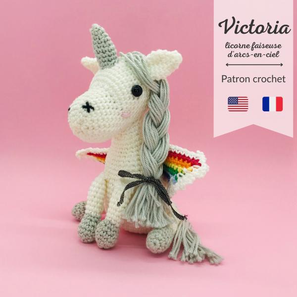 patron crochet victoria licorne arc-en-ciel