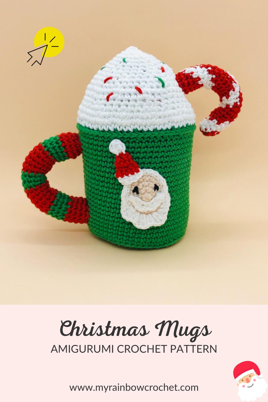crochet amigurumi pattern christmas mug santa claus