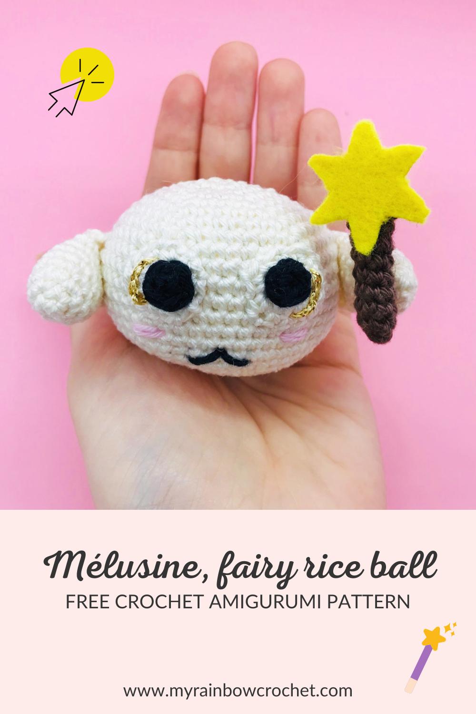 free crochet pattern amigurumi fairy rice ball