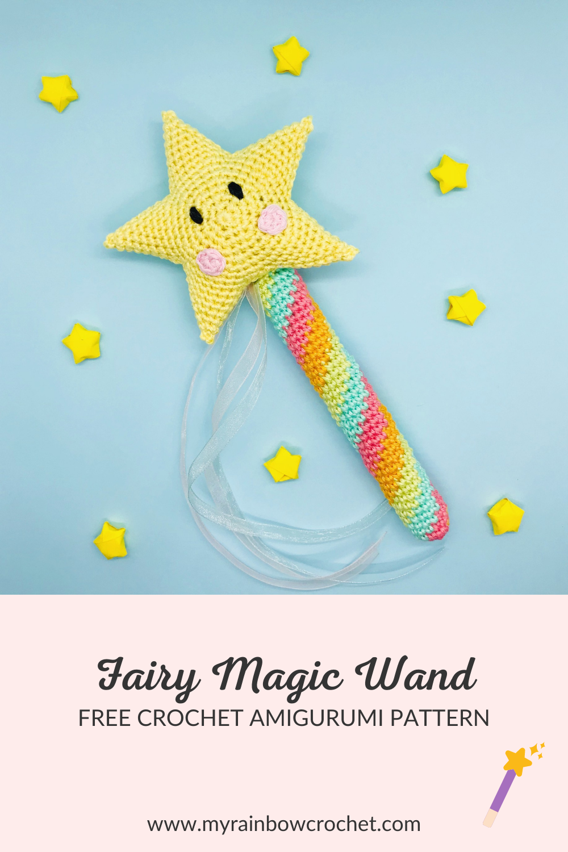 fairy magic wand free crochet amigurumi pattern